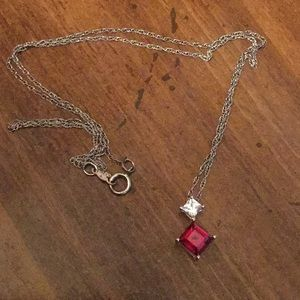 Ruby red diamond necklace